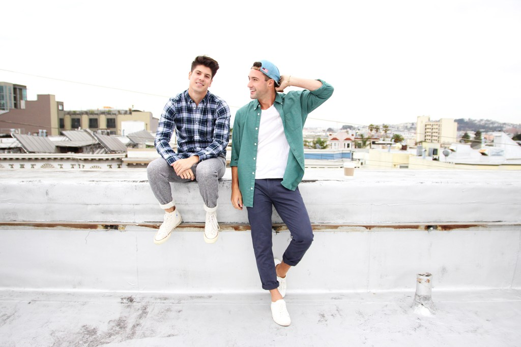Brock and Chris, of Yummertime, in men's Gap shirts for fall