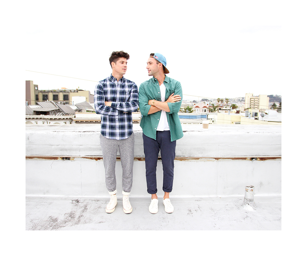 Brock and Chris, of Yummertime, in Gap shirts