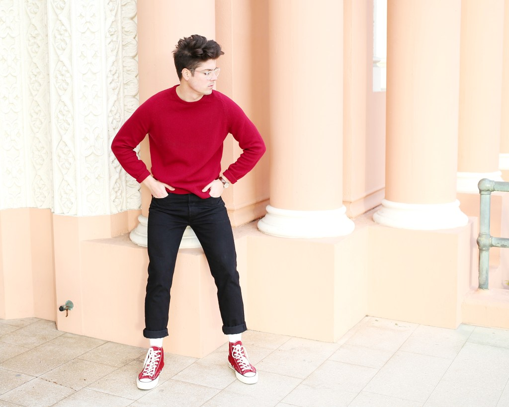 Brock, of Yummertime, in men's red sweater