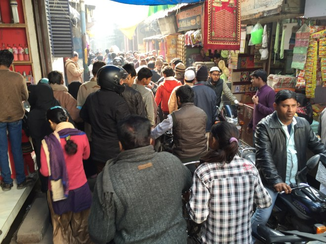 human 'traffic jam' in front of Rahim's