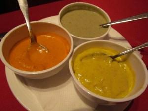 3 kinds of chutneys served with roasted papad - mint, apple & mango c