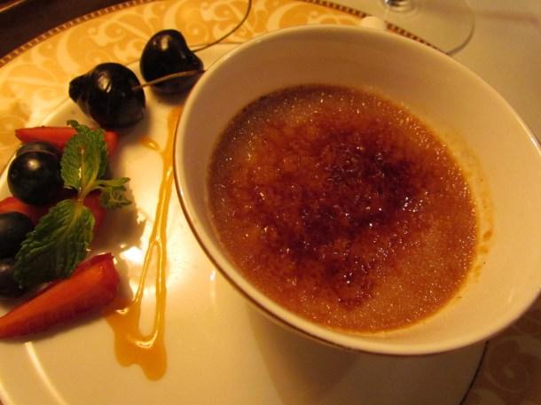 port poached prunes crème brulee