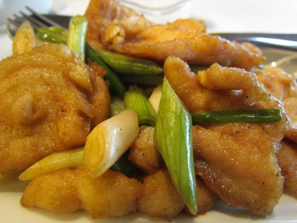 sautéed sliced sole with ginger & spring onion