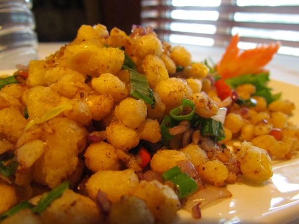 Stir fried corn seeds with spicy salt