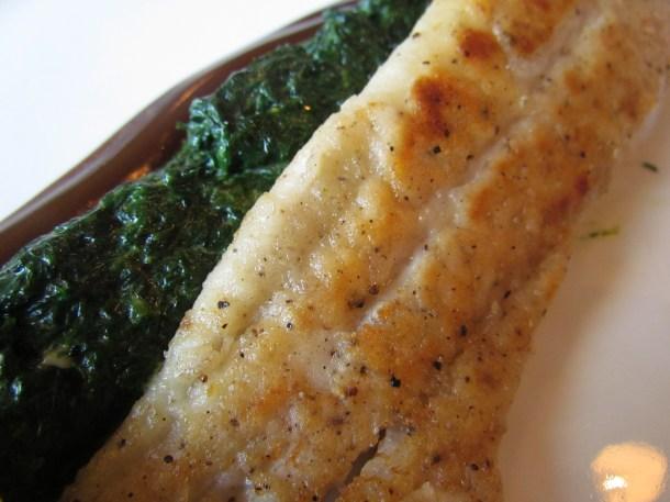 Filleto di sanpietro con spinachi cremosi et emulzioni di olio di olive balsamico