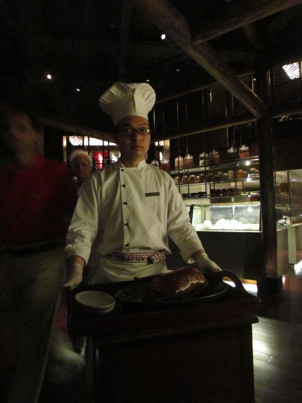 Chef at our table to carve Peking Duck