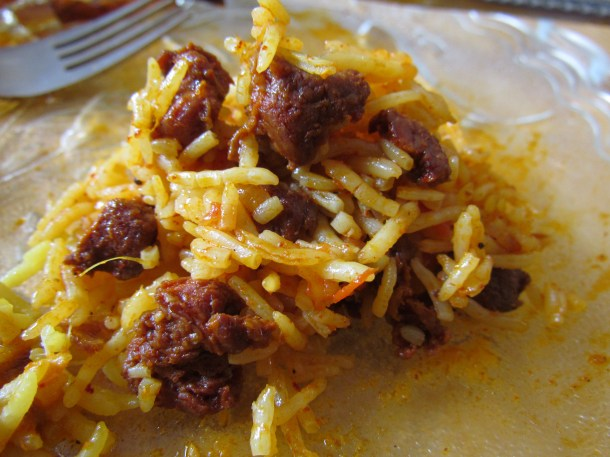 'home-made chorizo'  pulao
