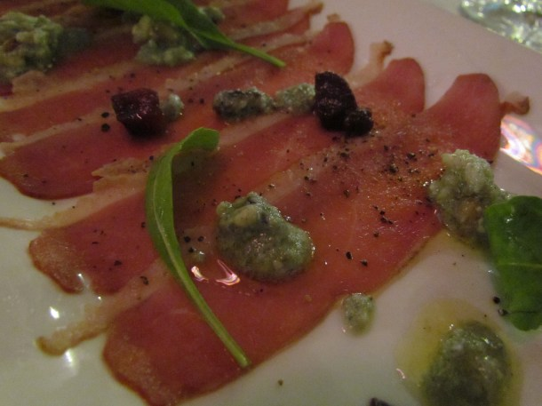 Pato – Smoked Duck Breast with spiced poached pear, blue cheese & walnuts