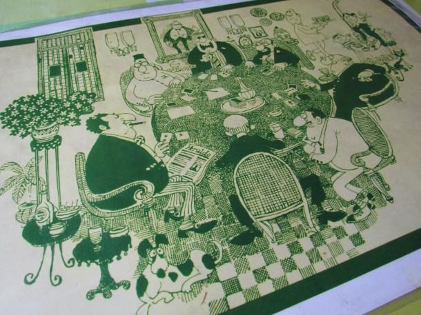Mario Miranda cartoon on the table mat