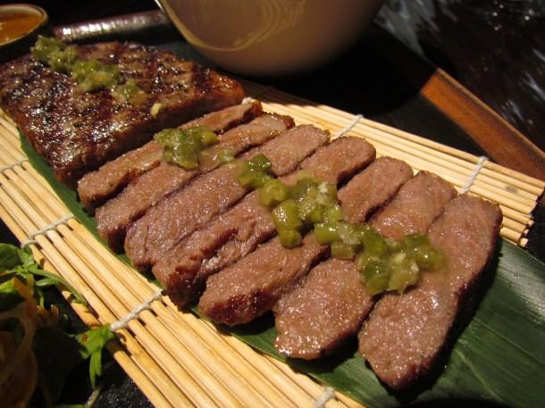 Grilled Wagyu striploin – along with kizami wasabi & roasted baby potatoes