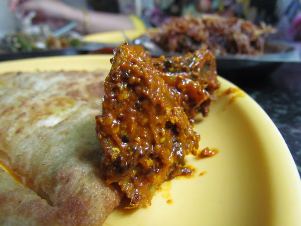 Achaar served with paranthas