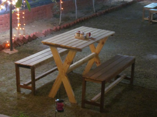closeup of outdoor seating
