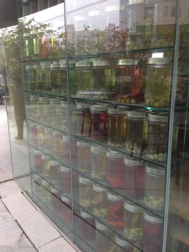 An array of jars near the entrance
