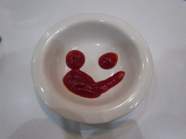 smiley sauce - served a bit smudged.....