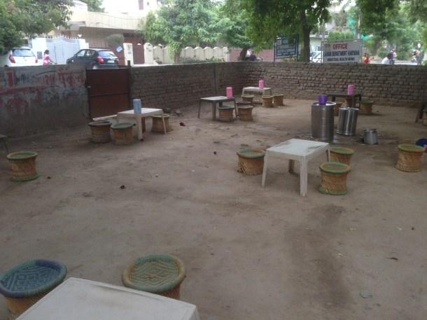 open air seating arrangement
