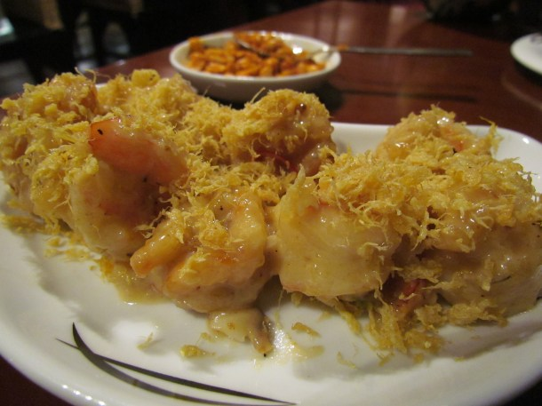 Butter prawns in salted egg sauce