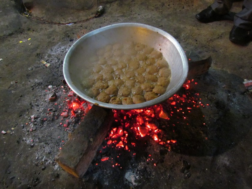 Shami Kababs being cooked in the open