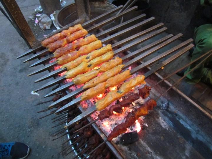 sheekh kababs being made