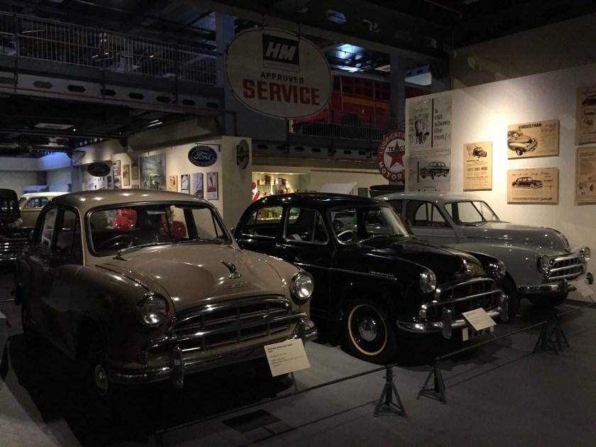 Epic journey - evolution of Ambi. Right - Hindustan Twelve 1948, center - Hindustan Landmaster 1954, Left - Hindustan Ambassador Mark 1 1969.