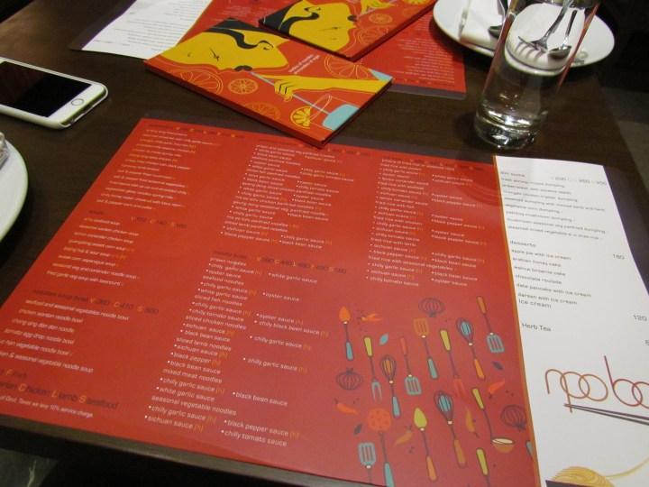table mat cum menu card