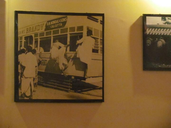 Calcutta tramways tram with an advertisement of Brandy