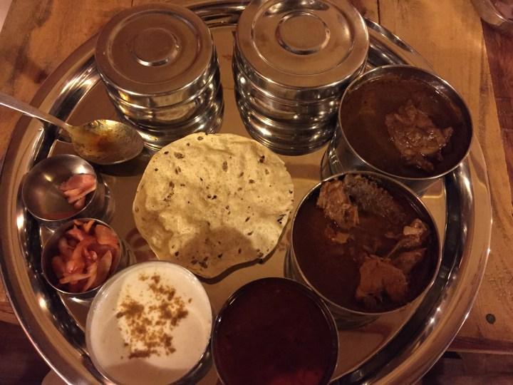 non veg thali that had egg curry, sitti waro seyal murg, bhugal gosth