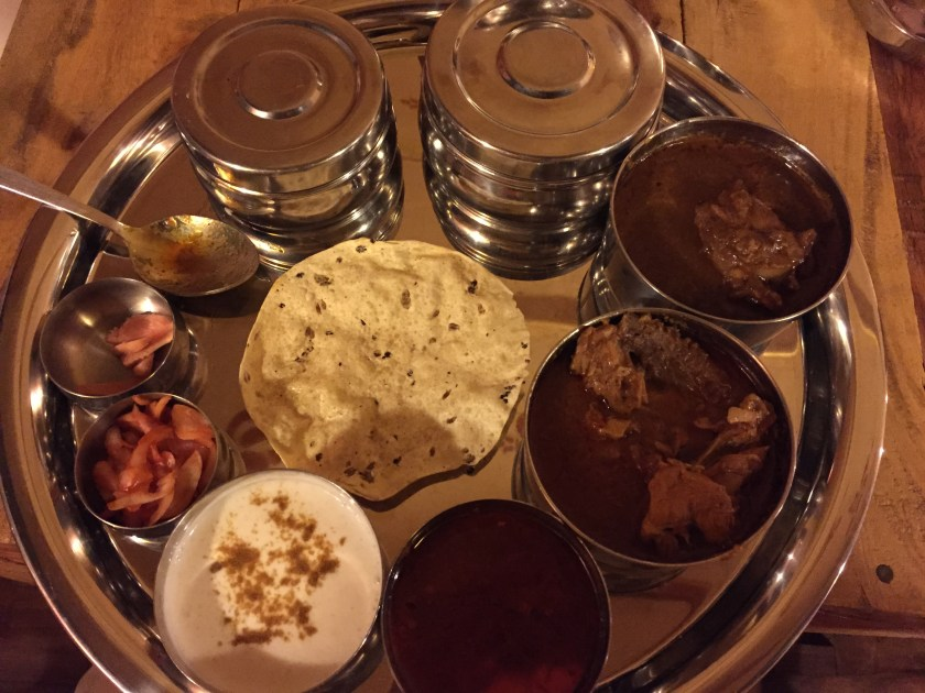 non veg thali that had egg curry, sitti waro seyal murg, bhugal gosth
