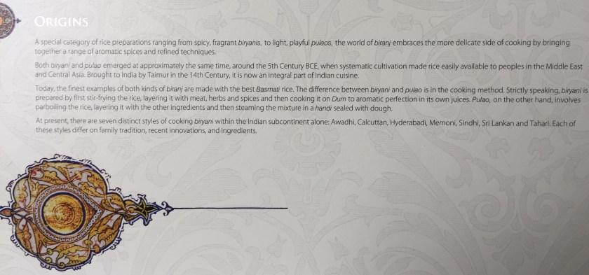 write up about biryani - on the menu card