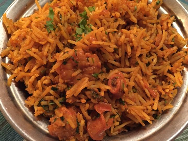 Mixed seafood pulao