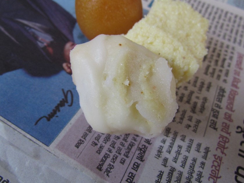 White sweet with mishri filling