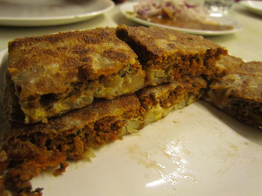 Mutton Baida roti - cross section