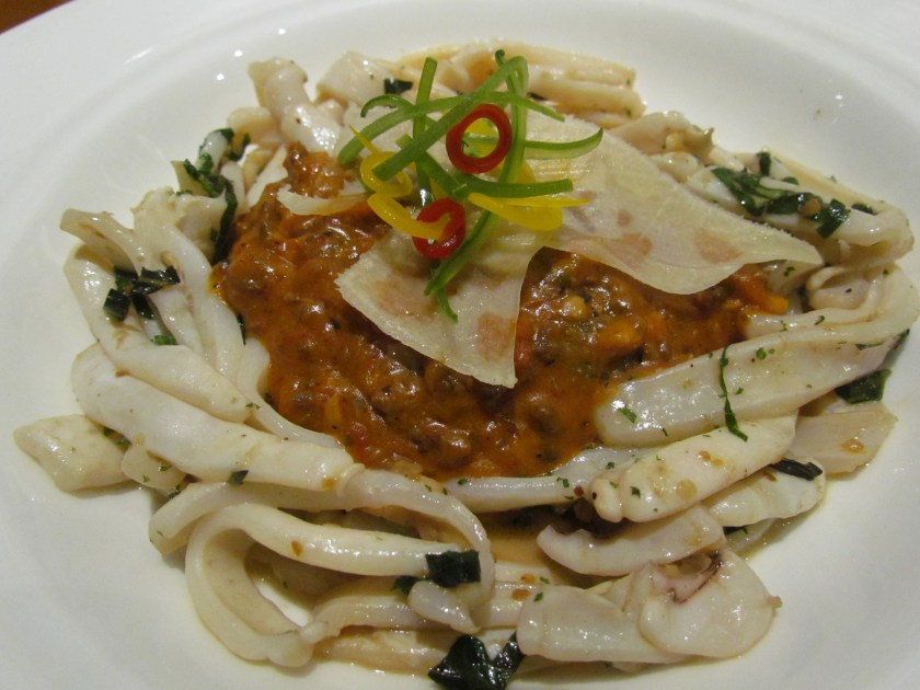 Squid bolognaise, fine herb buttered squid served with a rich tenderloin bolognaise