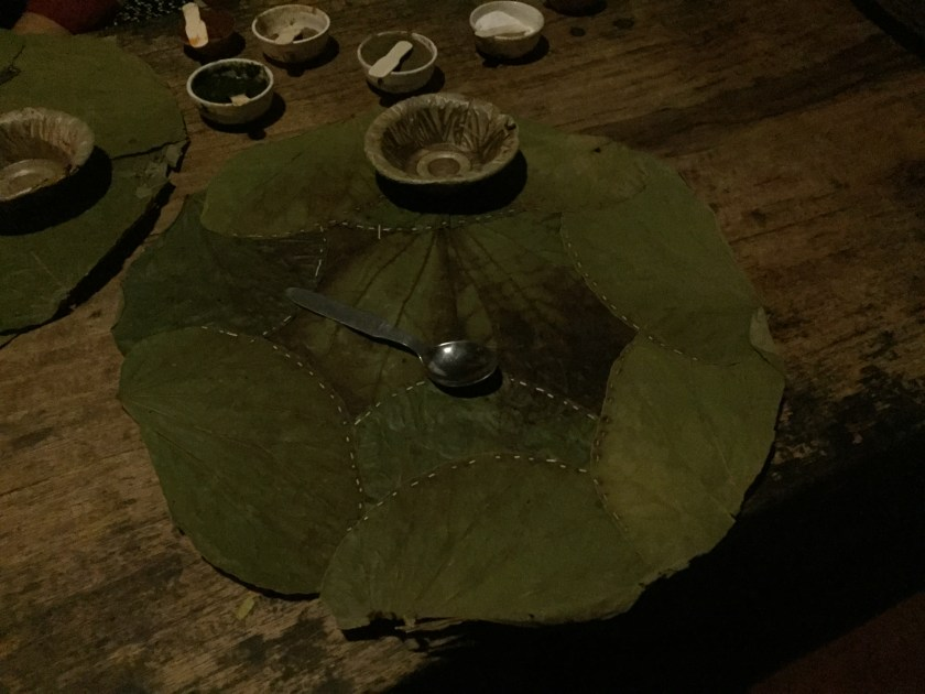 served on a leaf