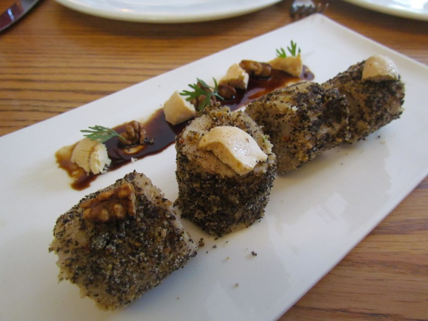 Betki fish cake with dried mushroom dust