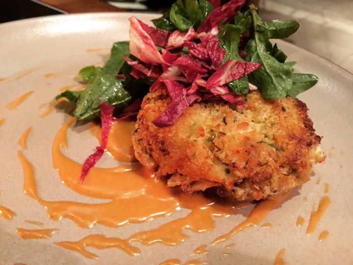 PAN roasted Crab cakes with smokey chipotle mayo and light greens