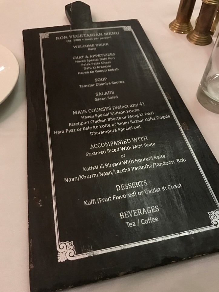 Menu card nonveg
