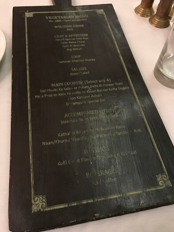 Menu card veg