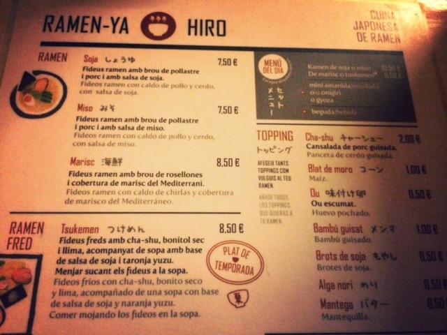platos del Ramen-Ya Hiro