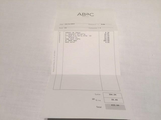 precio del restaurante abac 2015 2016