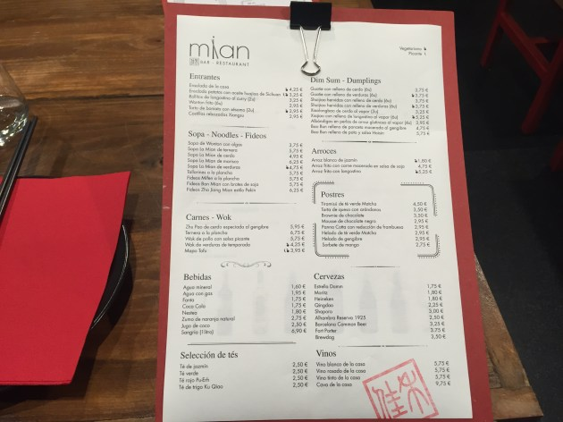 carta del restaurante mian