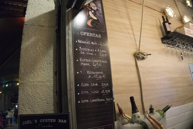 carta y platos del Joël's Oyster Bar