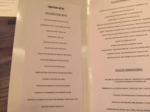 carta y platos de naparbcn