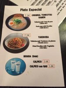 carta y platos del ramen shop
