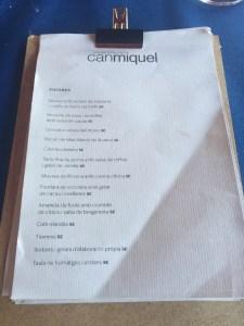 carta y platos del restaurant can miquel en cala montgó