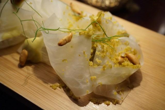 restaurante el pla Sopa fría de hinojo & Carpaccio de rábano Daikon
