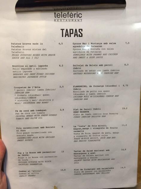 carta teleferic restaurant barcelona