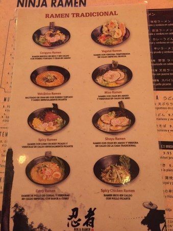 carta y platos Ninja Ramen