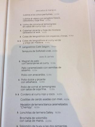 menu platos cafe saigon