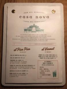 Carta y Platos Casa Nova Passeig del Born
