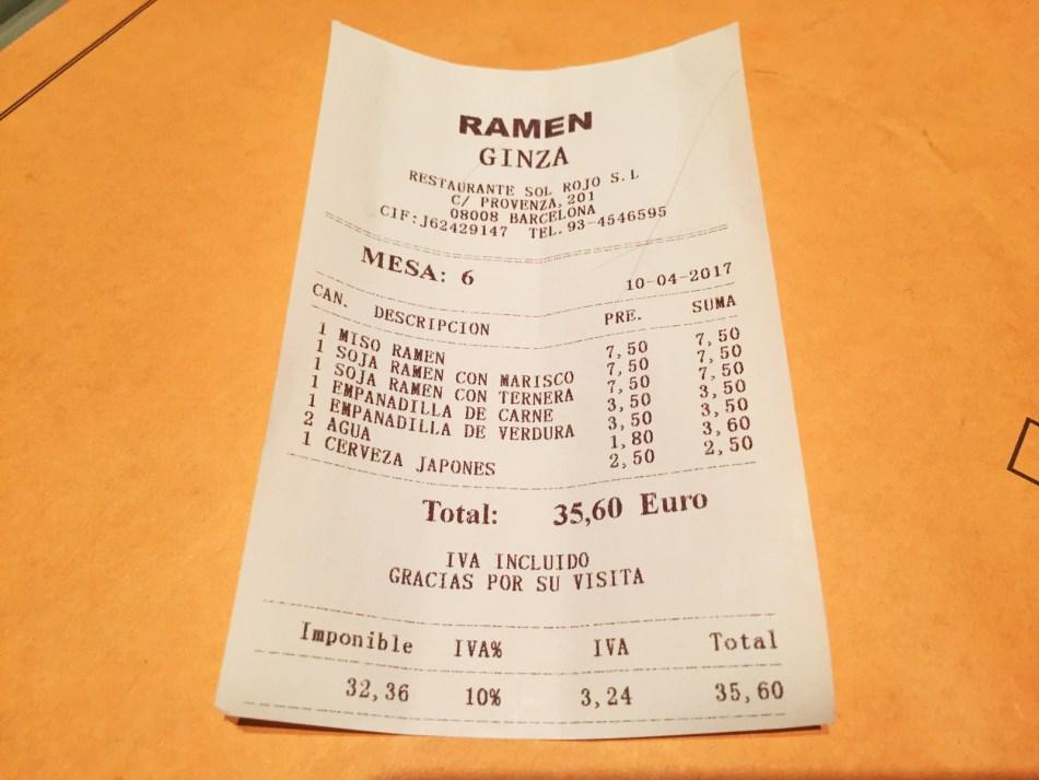 carta platos menu Ramen Ginza